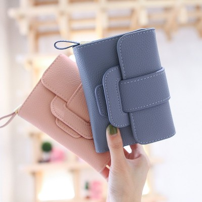 Pear doll lady short wallet, 2017 new female students Korean version, small fresh three folding change Wallet