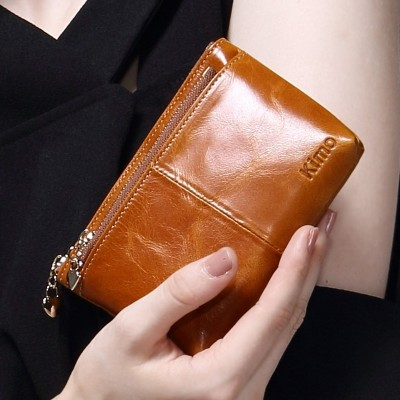 KIMO LEATHER PURSE Coin Bag female Leather Small Wallet Zipper handbag with a short section of student key bag