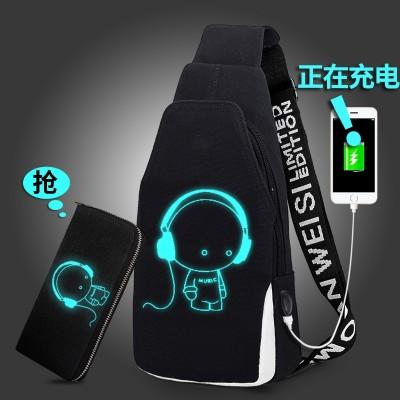 The boob-bag male han edition fashionable tide one shoulder bag student outdoor canvas shoulder bag men's sports backpacks leisure bag