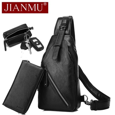 Men's single shoulder bag is a bag with a small chest bag and a man's pack of men's bag on the chest