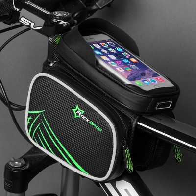 Rock brothers bicycle bag, touch screen, saddle bag, mountain car, front beam bag, mobile phone, upper tube package, riding equipment fittings