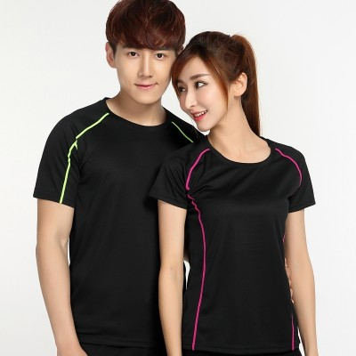 Outdoor sports, speed drying clothes, men's round neck thin, couple fitness, running clothes, summer ventilation, sweat absorption, short sleeved T-shirt, women