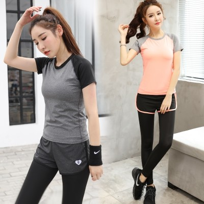 Summer sports suit, women running clothes, tight pants, gym, speed drying clothes, professional slim, yoga clothes set