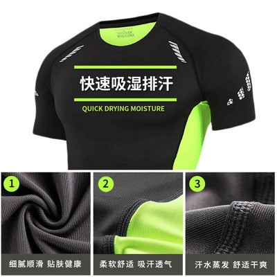 Gym suit, men's suit, night run, exercise clothes, sports suit, speed dry basketball, tights, gym three sets