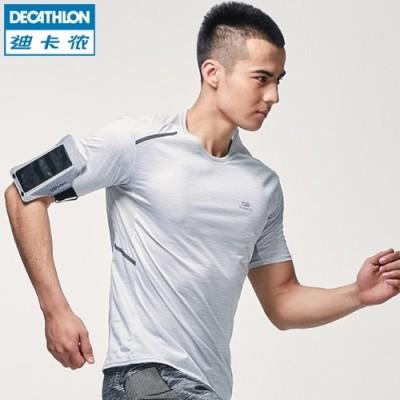 Decathlon sports t-shirt men summer speed dry clothing breathable loose short sleeved T-shirt KALENJI leisure fitness running