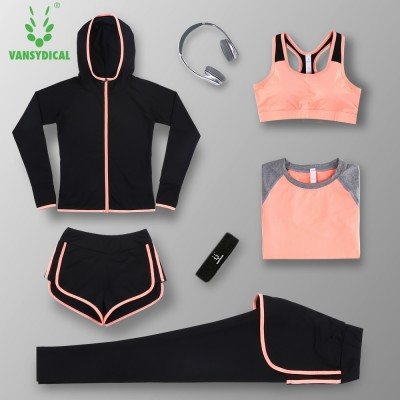 Summer Yoga suits, sports suits, women's trousers, running clothes, thin body clothes, five sets of speed drying, short sleeved vest