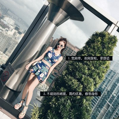 Yi Meishan two or three female dress style spa gather small chest cover belly split boxer swimsuit conservative
