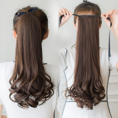 Female long hair wig ponytail bandage type long short pear wig piece fake ponytail in realistic big wave