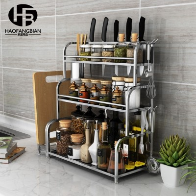 Stainless steel kitchen shelves, storage supplies, utensils, 2 layer kitchen utensils, knife rack, wall hanging, spices, spices shelves
