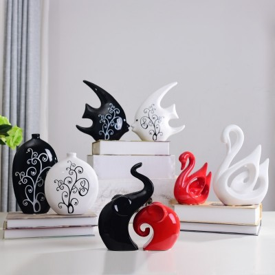 Home Furnishing jewelry creative bridal decoration decoration living room cabinet ceramic crafts wedding gift simple Swan