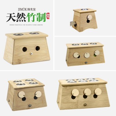 The moxibustion box is made of wood and bamboo with a single hole and double hole fumigata