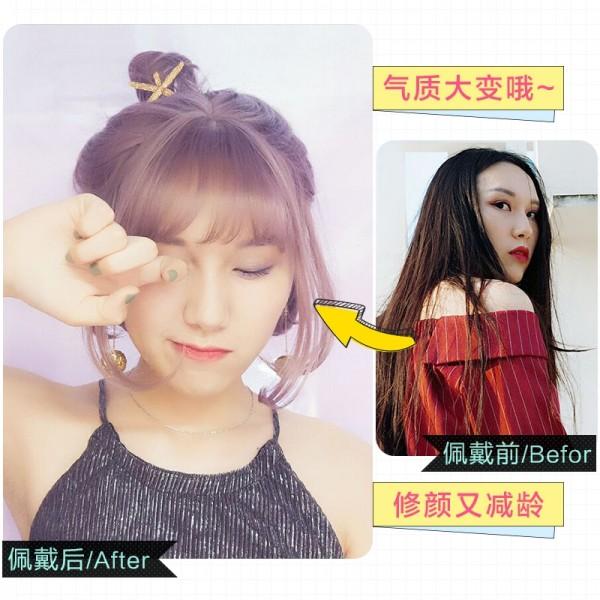 Wig Short Hair Korean Air Bangs Grandma Gray Bobo Head Fluffy