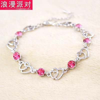 Female fashion bracelet clover Rose Gold Crystal Butterfly sweet hand jewelry all-match crystal bracelet accessories.