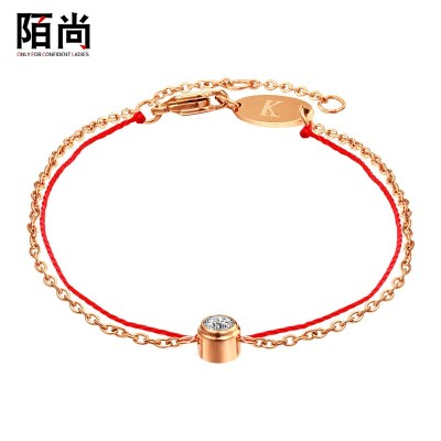European and American fashion 18K Rose Gold Plated Bracelet Red Rope double single diamond bracelet Jewelry Gift