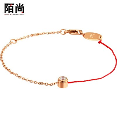 Korean fashion simple single thin red drill string titanium steel bracelet Jewelry for female students