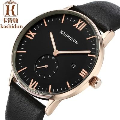 Card poem, Male skin strip with business watch waterproof wrist watch luminous quartz watch male new han edition