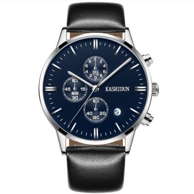Card poem, quartz watch male skin with wrist watch waterproof not mechanical steel band watch business men students