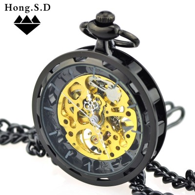 Steampunk wheel personality pocket watch retro mechanical watch men and women watch hollow steel gear alloy insert chain table
