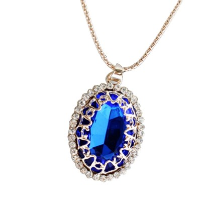 Han edition diamond long clothes deserve to act the role of women's pendant Joker character opal sweater chain necklace jewelry fashion