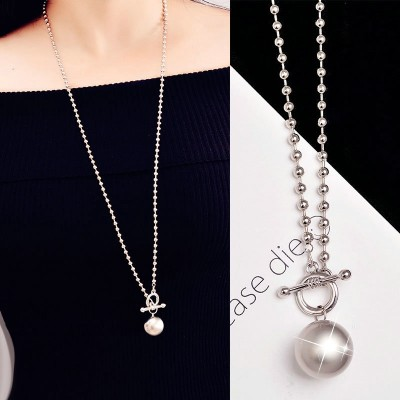 Compose love bone taro round temperament joker round bead chain chain long ball Korea han2 ban3 sweater necklace