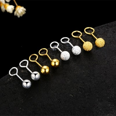 925 tremella hook nail doug joker grind arenaceous gold earrings ear bone nail earring female fashion round pearl gifts