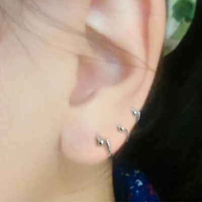 HFN JEWELLERY/li xuan 990 fine silver jewelry lap earrings Princess temperament ear laps mini ear bones