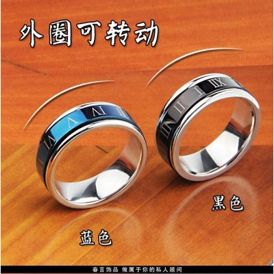 Rotating!European and American fashion Roman numerals Men's titanium steel ring personality domineering ring tide people offered