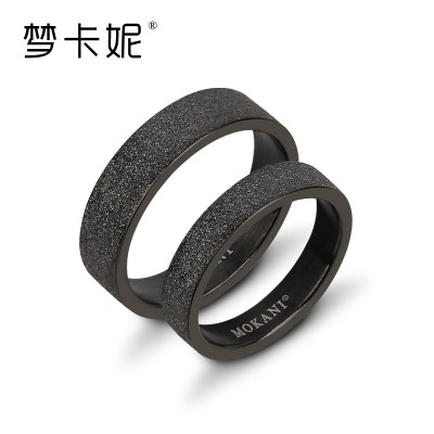Dream carnie 316 l titanium steel ring ring black pearl sand titanium steel couples