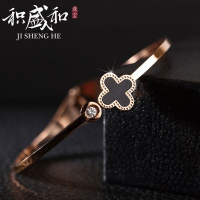 18 k rose gold contracted titanium steel bracelets bracelets female, Japan and South Korea valentine students clovers bracelets