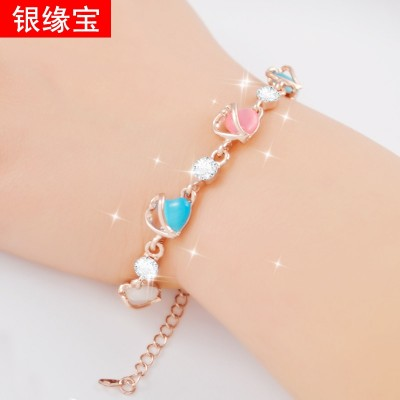 All-match opal Pearl Bracelet rose gold crystal bracelet Korean multi character female jewelry accessories Bracelet