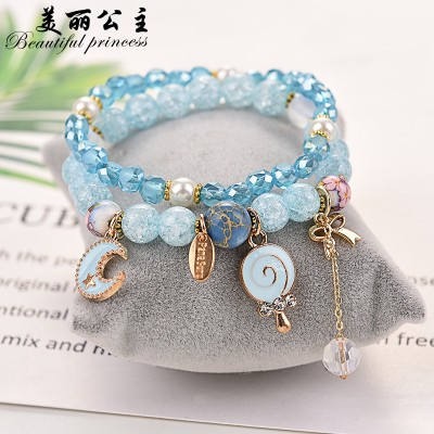Korean version of simple personality bracelet, female girlfriends, students crystal garnet, pearl bracelet, hand string, hand ornaments, kitten