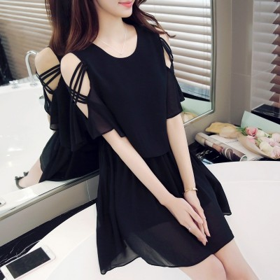 In the summer of  new small fresh Strapless Chiffon Dress summer dress Korean thin temperament a word skirt