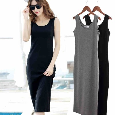 Waistcoat, long skirt, long length suspenders, backing skirt, black vest, Korean skirt, big size sleeveless dress, female summer