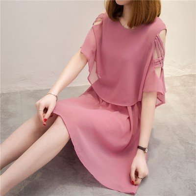 Chiffon dress in the long section of the spring  new Korean slim waisted A-line skirt Strapless short sleeved summer A female