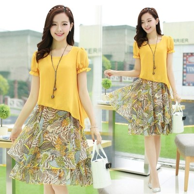 Large size women loose fat mm add fertilizer increased fat short sleeved Chiffon Dress sister in the long summer holiday two pieces