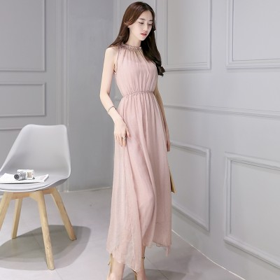 Pink sleeveless chiffon dress, long , summer fashion, fashion dress skirt
