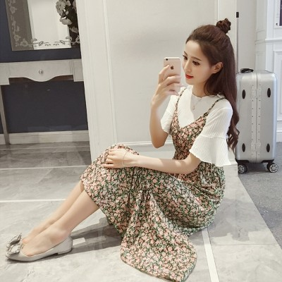 YEZKI summer  new Korean women slim two Suit Dress Chiffon floral dress female