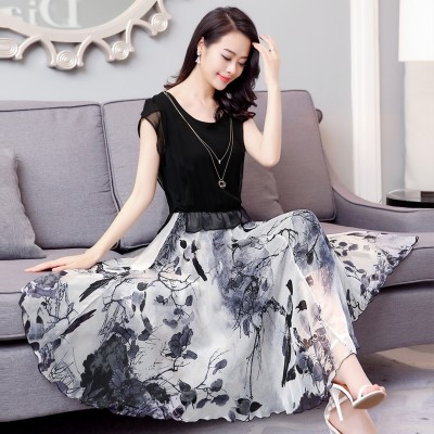 Silk dress,  summer fashion women, slim slim, printed skirt, mulberry silk, big swing dress