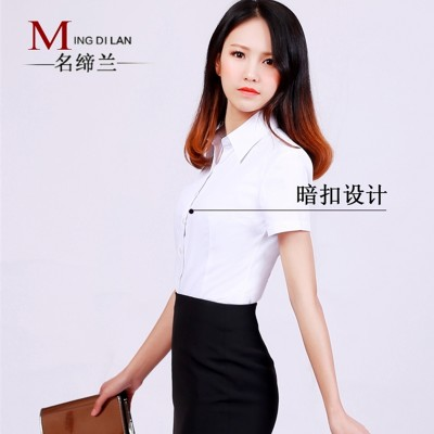Work wear white shirt short sleeved button slim female anti dress shirt female occupation interview tooling summer code