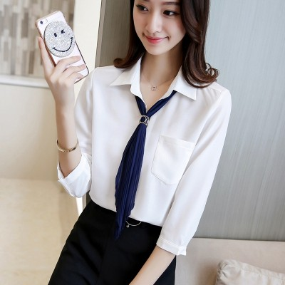 the new Korean version of loose Chiffon shirts, women's solid colors, short sleeved students, Korean shirts, professional shirts tide