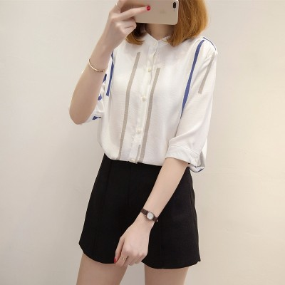 Summer  new women's white shirt woman loose small fresh coat Korean fan striped shirt female summer sun protection clothing