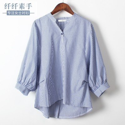 summer new Korean BF wind blouse collar back button seven bat sleeve sleeve vertical striped shirt