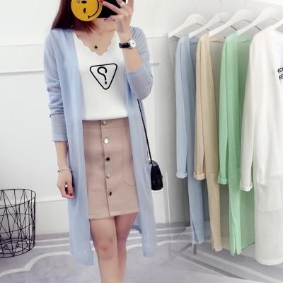 Cardigan girls long summer slim silk sweater a  new sunscreen jacket shirt air conditioning