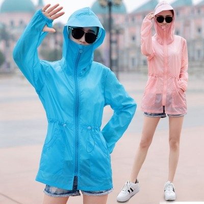 Sun clothing lady  summer new Korean version, long, loose big yards, outdoor thin paragraph, beach sunscreen jacket