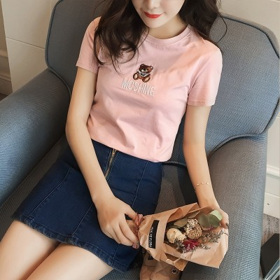 summer new female short sleeved T-shirt cotton T-shirt coat all-match simple pure white shirt woman