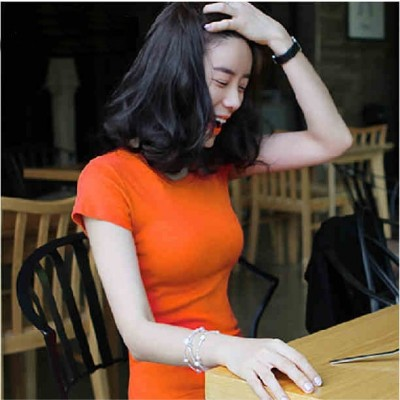 Chen Xuan pure cotton short sleeved summer all-match slim lady T-shirt half sleeve T-shirt tight yellow T shirt