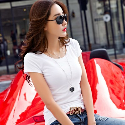 Korean white cotton T-shirt short sleeved summer coat color all-match female slim shirt simple T-shirt