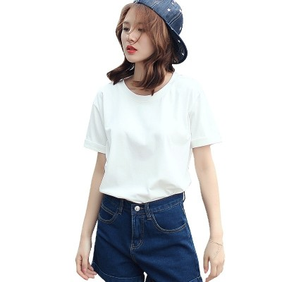 Solid color T-shirt Jacket Shirt New Summer  Korean female students all-match loose white T-shirt short sleeve