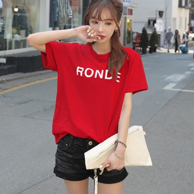Pure cotton short sleeved T-shirt red female  new summer Blouse Size T-shirt all-match loose Korean Students