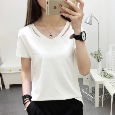 Short sleeved t-shirt female  summer new Korean students all-match loose half sleeve solid color shirt V collar Korean fan clothes